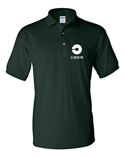 Uber Driver New Logo Men's Gildan Jersey Sport Polo T Shirt   Forest Green