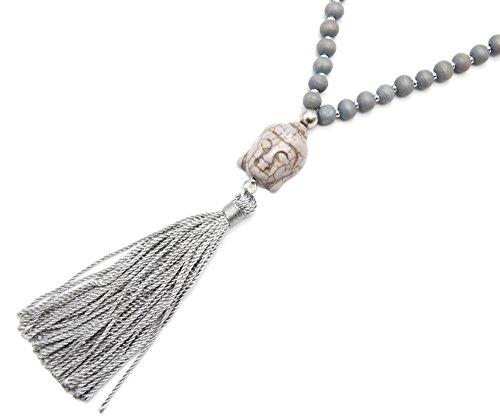 CL1539F - Sautoir Collier Perles Bois avec Pendentif Bouddha Pierre Effet Marbre et Pompon Fils Gris