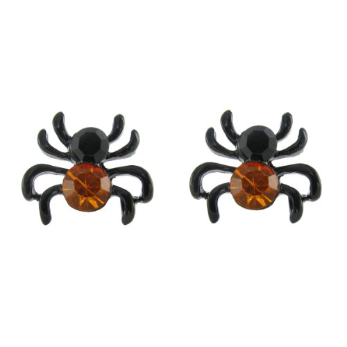Halloween Mini Spider Stud Earrings in Black & Orange Crystal Rhinestones