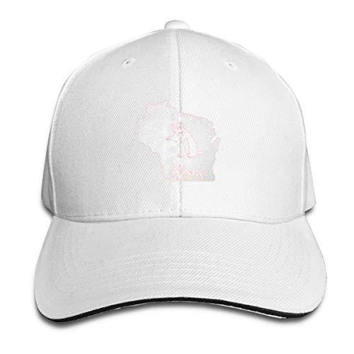 Wisconsin Badger Home State Classic Baseball Cap, Adjustable Fits Men Women Plain Low Profile White Hat ()