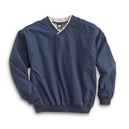 V-neck Wind Jacket - Men's Fully Lined V-Neck Golf and Wind Shirt - Navy/Putty, Medium
