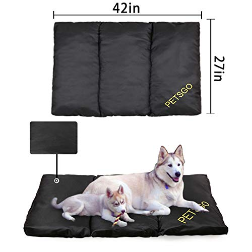 PETSGO Extra Thicken Dog Beds Super Soft Pet Beds Mat for Dog and Cat Crates Machine Wash Dryer on Low Temperature Pet Beds for Pets Sleeping 42in (Large Dog Crate 2 In 1)