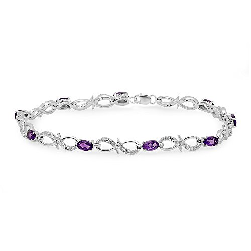 (Dazzlingrock Collection Real Oval Cut Genuine Amethyst & Round Diamond Ladies Link Bracelet, Sterling Silver)