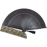 Japanese Handheld Folding Fan, Long Bamboo Frame
