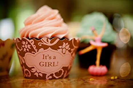 Amazon.com: Bella Cupcake Couture Hannah Pink And Brown It's a Girl Cupcake  Wrapper, Set of 12: Decorating Tools: Kitchen & Dining