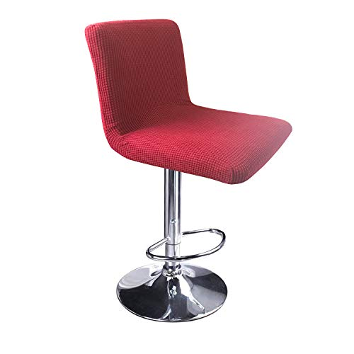100 Bar Stools - MOCAA Stretch Slipcover Chair Protectors for Short Back Chair Bar Stool Chair,ONLY Chair Covers (Burgundy)