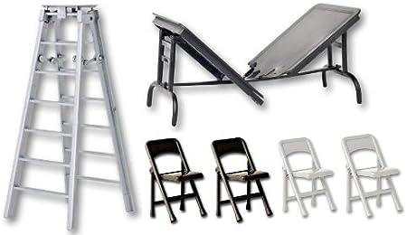 Escalera Plateada de 6 Pulgadas, Mesa Separable Negra y 4 sillas – Accesorios para Figura de Lucha Libre (WWE/TNA): Amazon.es: Hogar