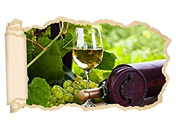 3d Wandtattoo Wein Glas Weißwein Flasche Garten Trauben Tapete Wand