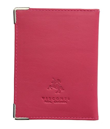 Card with TC5 Protectors Fuchsia Leather Pass Chocolate Oyster Corner Holder Metal Visconti Travel YZEwvvq
