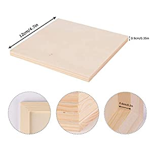 Wood Painting Boards, Dedoot 4.7″x4.7″ Unfinished Birch Wood Paint Pouring Panel Boards, 0.2″ Deep Cradle Square Wood Canvas Boards for Painting, Art & Craft