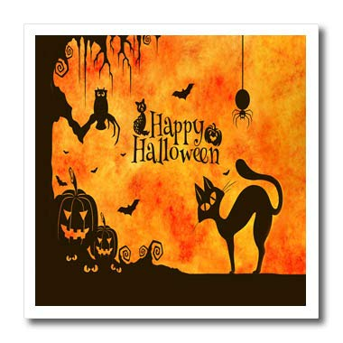 3dRose Sandy Mertens Halloween Designs - Cat, Owl, Bats, Spider, Jack o Lanterns Silhouettes, 3drsmm - 6x6 Iron on Heat Transfer for White Material ()