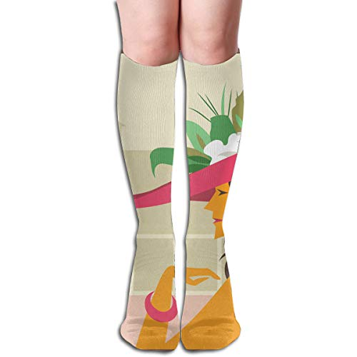 YangAme Cartoon Kentucky Derby Hats 50 Full Comfort Knee High Socks Cotton Long Knee High Socks