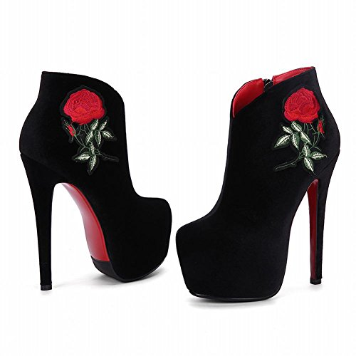 Rose MissSaSa Vintage Elegante Nero Stivaletti Lady Donna qw8txwzg