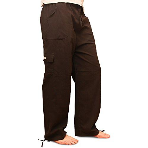 Pantaloni estivi di cotone prodotti tramite commercio etico, vita elastica, con tasche, dall�?Ecuador da Tumia. Nero.