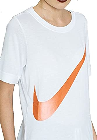 Nike Women's Sportswear Top Short-Sleeved Prep T-Shirt (L, White/Black)