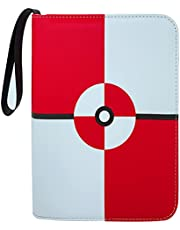 KIXDA Binder for Pokemon Cards and Sleeves, Trading Card Album Collectible Book Compatible for Pokémon Trading Cards, Holds Up to 480 Cards, 60 Pcs 4-Pocket Pages (Red)