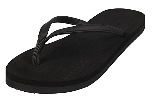4How Girl's Flip Flop Sandal Black US Size 7.5 M