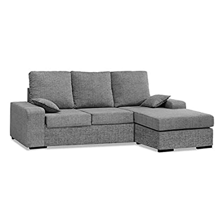 Muebles Baratos Sofa con ChaiseLongue, 3 plazas, MONTADO, Color Gris, ref-54