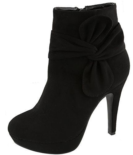 Top Moda Women's Side Bow Knot Platform Stiletto High Heel Ankle Bootie (6.5 B(M) US, Black)