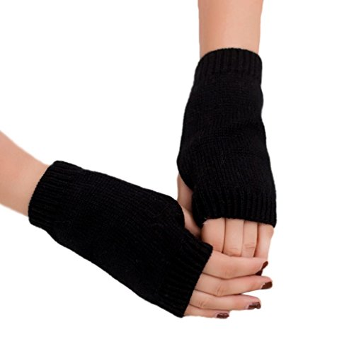 Shuohu Winter Fingerless Half finger Candy Gloves Warm Keeper Wrist Warmers for Womens (Length Wrist Fingerless Gloves)