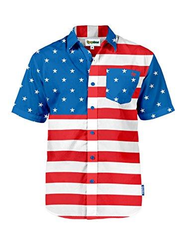 Men's Tropical American Flag Aloha Shirt: Small