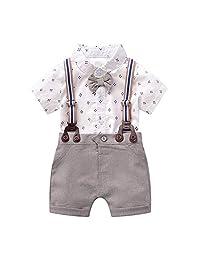 8a9b11f5f Bebés 2Pcs Trajes De Bautizo Camisa Bowtie Top + Tirantes Shorts Correa