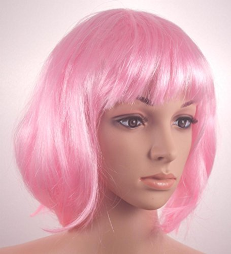 Fashionable Pretty Short Pink Bob Babe Wig Girls Ladies 20s 60s 70s 80s 90s Fancy Dress Party Cosplay Hairstyle by (70s Womens Hairstyles)