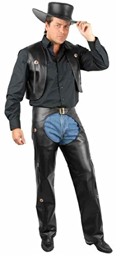 OvedcRay Adult Mens Cowboy Western Costume Wild West Faux Leather Chaps & Vest And Plus ()