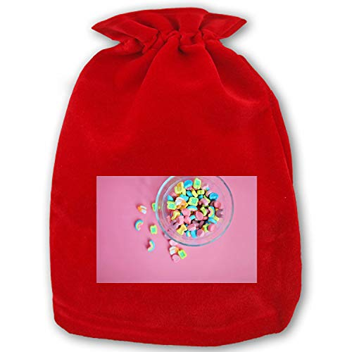 Christmas Bag Santa Sack Personalized Canvas Burlap Bag for Gifts Christmas Gift Bags Drawstring Santa Sack Special Delivery High Angle View of Multi Colored Marshmallows