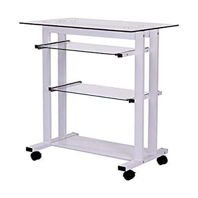 HOMCOM Glass Top Mobile Home Office Computer Cart Desk by Aosom Direct
