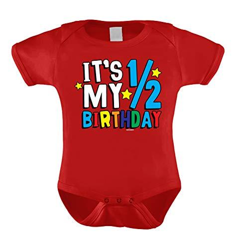 HAASE UNLIMITED It's My Half Birthday - Anniversary Infant Bodysuit (Red, 6 Months)