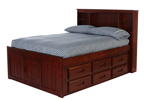 Captain Bed Box - Discovery World Furniture Bookcase Captains Bed with 6 Drawers, Full, Merlot