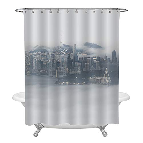 San Francisco Surrounded by Fog Skyline Shower Curtain, Aerial View from Across the Bay Cityscape Photograph Print Art Decor for Modern Home, Water Resistant Washable Cloth Bathroom Accessories, 72x78 -