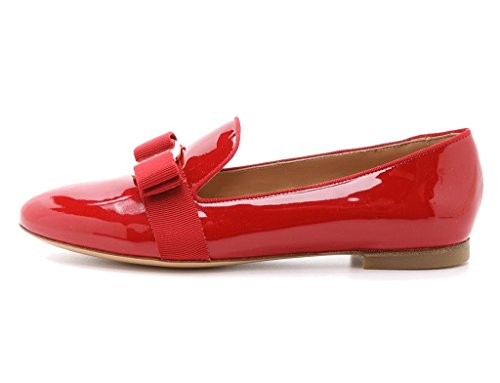 Patent Ballerina Pumps (Guoar Women's Big Size Low Heel Pointed Toe PU Patent Ballet Flat Sandals Pumps for Wedding Party Dress Red US8)
