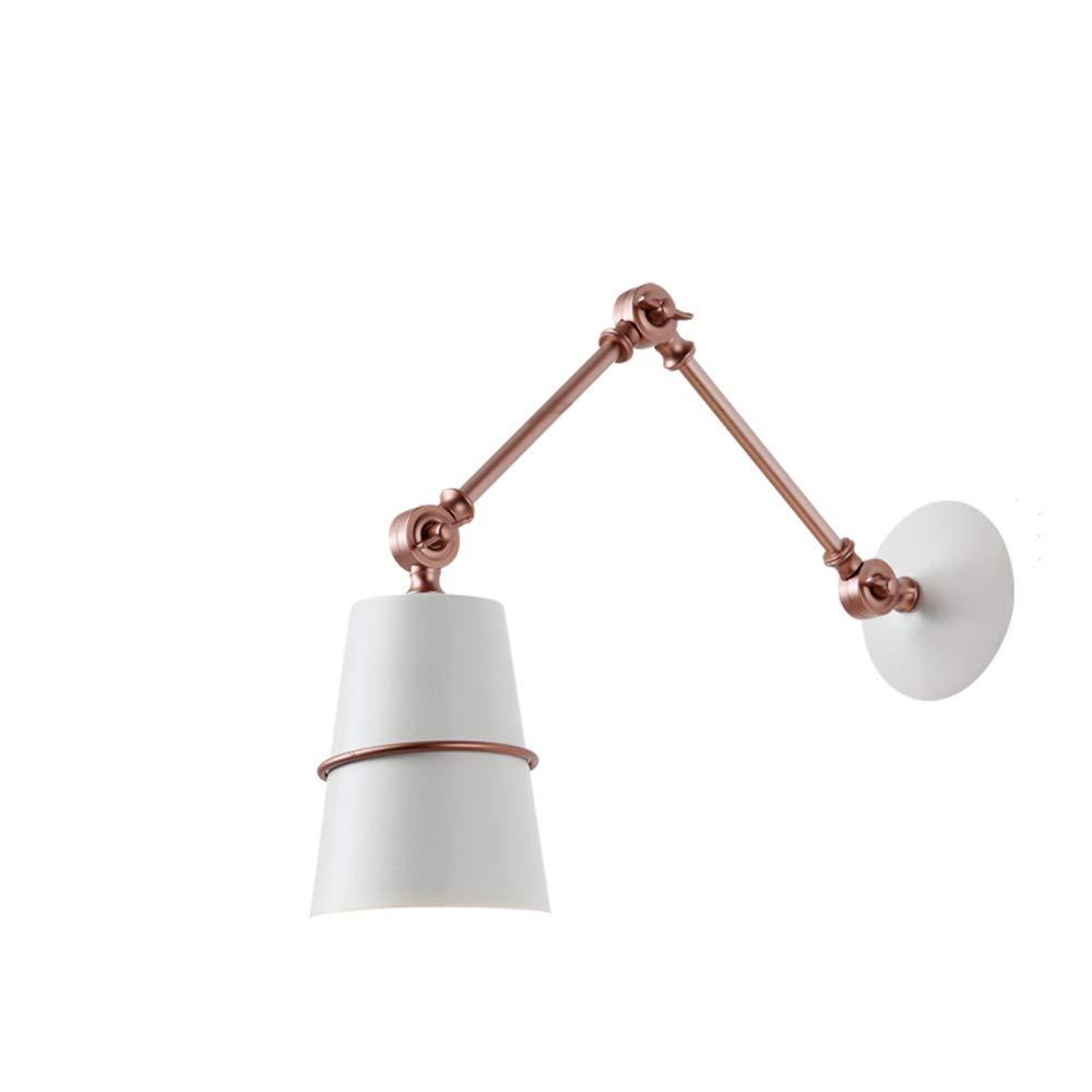Nordic minimalistischen faltende Wandleuchte kreative lange Arm versenkbare Schlafzimmer Nachttischlampe Leselicht (Farbe   Weiß)