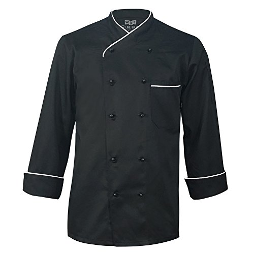 Long Sleeve Chef Jacket - 10oz Apparel Long Sleeve Black Chef Coat with White Piping L