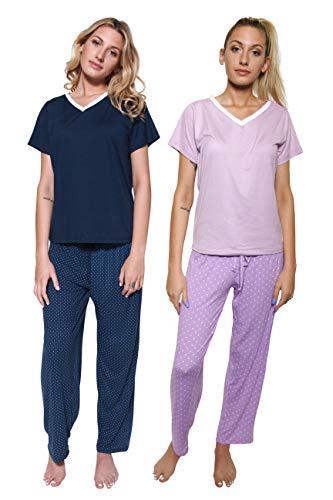 2 Pack: Womens Pajama Sets Ladies Short Sleeve V-Neck Tops Pants Bottoms Pijama PJ Sleepwear Lounge Night Wear,Set C-Medium