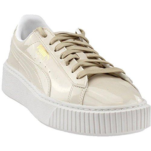 PUMA Women's Basket Platform Patent WN's Field Hockey Shoe, Oatmeal-Oatmeal, 9 M (Leather Field Sneakers)