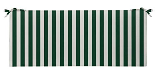 (RSH Décor Indoor/Outdoor Decorative 2 Inch Foam Bench Made with Hunter Green & White Cabana Stripe Choose Size and Choose Color)