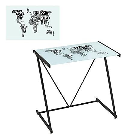 Lola Derek - Mesa de escritorio de cristal negra moderna para ...