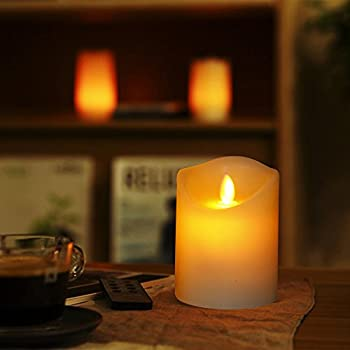 """Comenzar Flameless Candles,led Candles Realistic Moving Set Of 5(h4 4"""" 4"""" 6"""" 6"""" Xd3.25) Flickering Candles With Remote Timer(batteries Not Included) 1"""