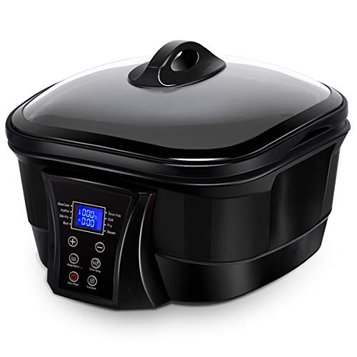 COSTWAY 8 in 1 Multi Cooker Programmable Multiple Cooking Options w/ Non-stick Pot & LCD display, Slow Cook, Fast Stew, Stir-fry, Boil, Sous Vide, Grill, Fry, Steam, Keep Warm Function, 5.3 Quart Slow Cooker (Black)