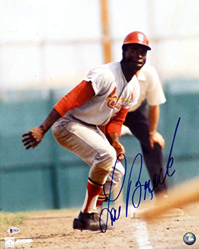 Lou Brock Autographed 16x20 Photo St. Louis Cardinals Beckett BAS #F98230