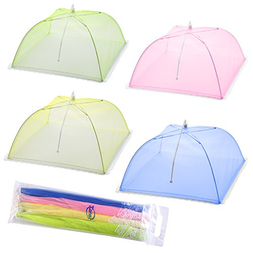 Mesh Screen Food Cover Tents - Set of 4 Umbrella Screens to Keep Bugs And Flies Away From Food at Picnics, BBQ & More - 4 Colors (Pink, Green, Blue, - Cover Umbrella Food