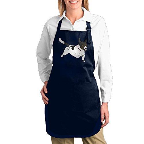 Dogquxio Cartoon Dog Kitchen Helper Professional Bib Apron With 2 Pockets For Women Men Adults Navy