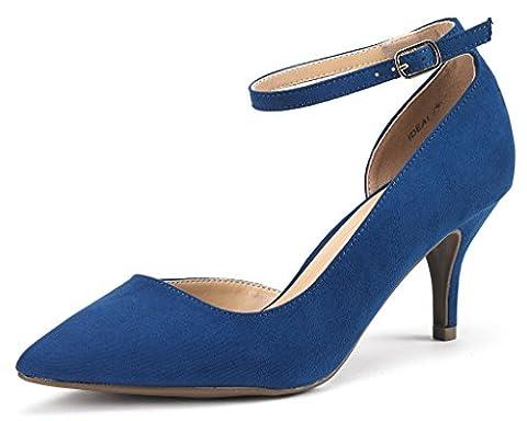 Dream Pairs Women's Ideal Navy Suede Low Heel Dress Pump Shoes - 8.5 M US - Blue Suede Pump Shoes