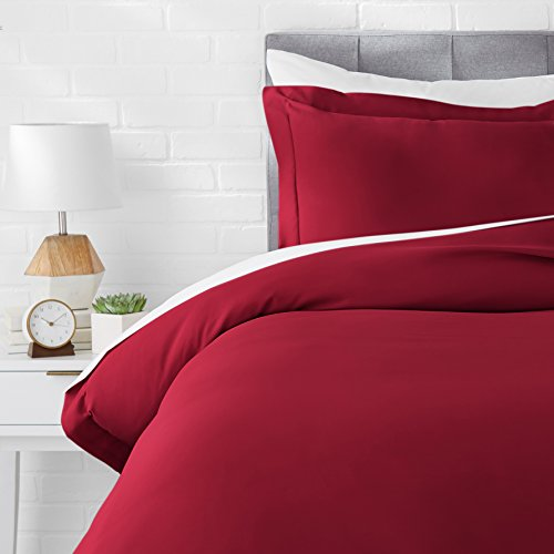 AmazonBasics Microfiber Duvet Cover Set - Twin/Twin XL, Burgundy