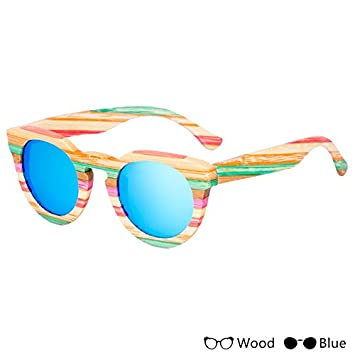 TIANLIANG04 Modo Colorido De Madera Hombres Gafas De Sol Gafas Polarizadas Para La Pesca Unisex Unisex
