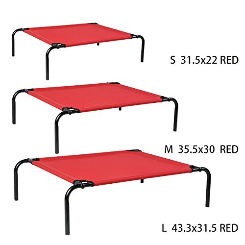 Magshion New Cat Dog Pet Bed Steel Metal Frame Portable Cot, Large, Red Review