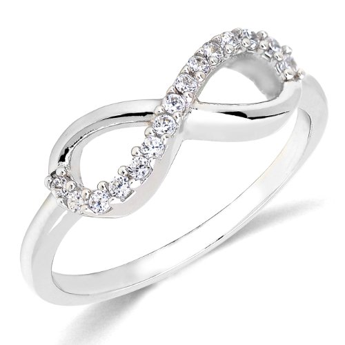 Children Earrings by Lovearing Sterling Silver Rhodium Plated Forever Infinity Cubic Zirconia Ring Love & Friendship Size 4 ()